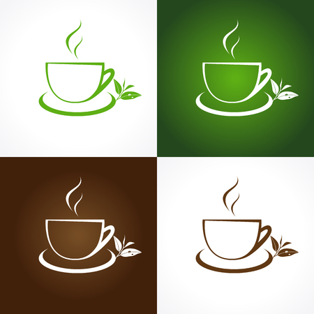 fervent: The logotype with tea leaves for tea houses and cafes. Branding emblem in traditional style. Vector cup icon template. Leaf with a drop of dew.