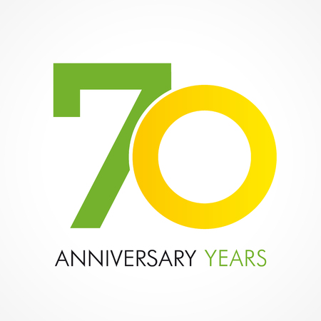 70 years old celebrating classic logo. Anniversary year of 70 th vector template.