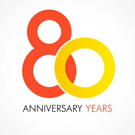 80th: 80 years old celebrating classic logo. Anniversary year of 80 th vector logotype template. Birthday greetings celebrates. Traditional digits of eighty jubilee ages in a shape of rings.