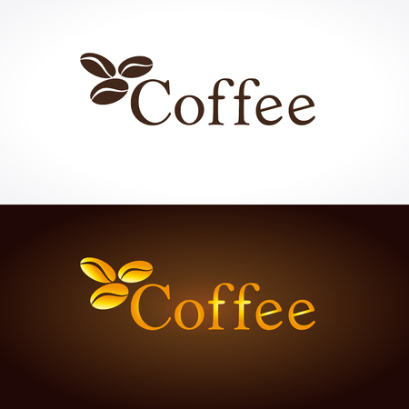 Coffee company logo. The logotype with 3 golden coffee beans for coffee houses and cafes. Gold colored branding emblem in traditional style. Logo