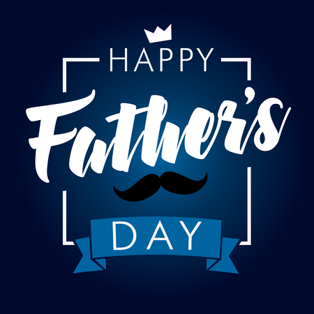 Happy Fathers Day calligraphy navy blue banner. Happy father`s day vector lettering background. Dad my king Vectores