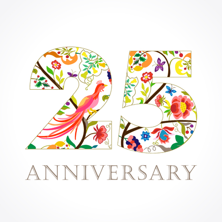 25 years old luxurious celebrating folk logo. Template colored 25 th happy anniversary greetings, ethnics flowers, plants, paradise birds. Traditional decorative congratulation in various colors.