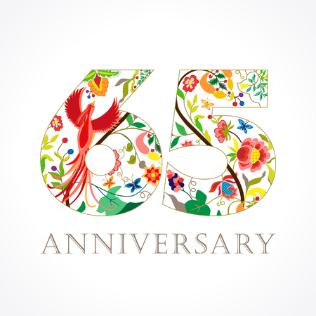 65 years old. Template colored 65th happy anniversary greetings, ethnics flowers, plants, paradise birds. Illustration