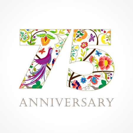 75 years old luxurious numbers congratulations 75th vector gold template colored 75 th happy anniversary greetings ethnics flowers plants pronofoot35fo Image collections