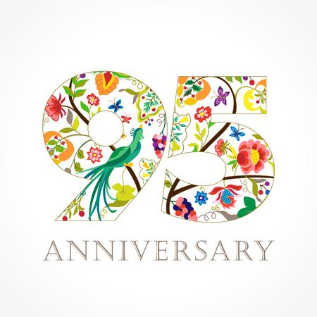 95 歳。テンプレート カラー 95 th 記念日おめでとう挨拶、エスニック花、植物楽園鳥。様々 な色の伝統的な装飾的なおめでとう。設定します。 写真素材 - 79327968