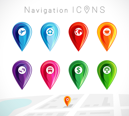 buss: Map pointer, colorful pins location for gps navigation vector set. Map pointers icon colored