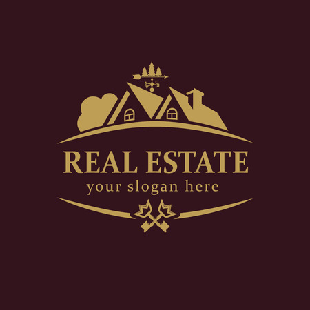 Real-estate vector logo. House for sale or build sign template. Agency, lease, sell, buy, invest or landscaping business identity. Country house luxury abstract vintage symbol gold colored. Illustration