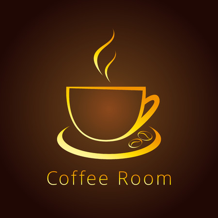 coffee beans: The logotype with golden coffee beans for coffee houses and cafes. Gold colored branding emblem in traditional style. Illustration