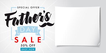 父亲节特价促销横幅灯。父亲节特别优惠促销五折,矢量设计