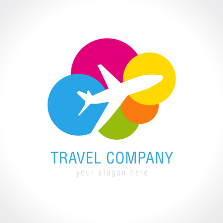 Travel company logo. World travel airplane abstract vector icon. Low cost airlines, tickets selling, tourist business. Flying plane, colored clouds.