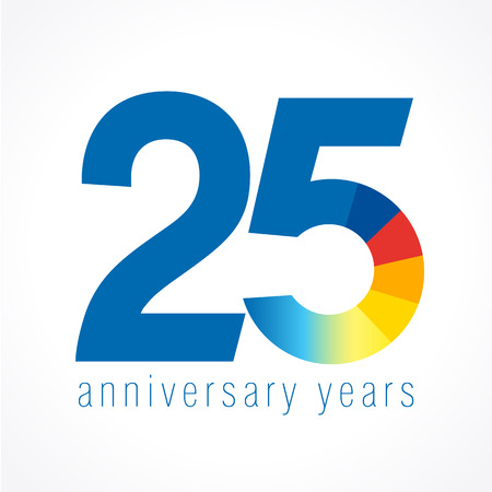 25 years old logo with pie chart. Anniversary year of 25th vector round banner numbers.