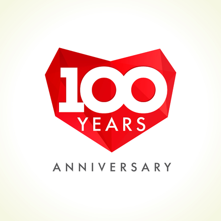 one hundred and ten: Anniversary 100 years old hearts celebrating vector logo. Birthday greetings with stained-glass frame, heart shape. Lovely stained one hundred celebrating, 100 th. Luxurious 10th, 1 st facet idea. Illustration