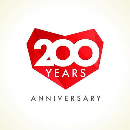 Aniversario De 200 Años De Edad Corazones Celebrando El Logotipo Del ...