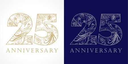 25 歳豪華な祝う民俗番号。テンプレート金銀色 25 ハッピー周年記念挨拶、民族の花、植物、楽園鳥。伝統的なお祝いパターン。