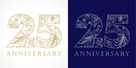 25 years old luxurious celebrating folk numbers. Template gold and silver colored 25th happy anniversary greetings, ethnics flowers, plants, paradise birds. Traditional congratulation pattern.