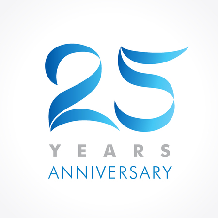 25 years old celebrating classic logo. Anniversary year of 25 th vector template. Birthday greetings celebrates. Traditional digits of jubilee ages in a shape of flying tapes or flags. Illustration