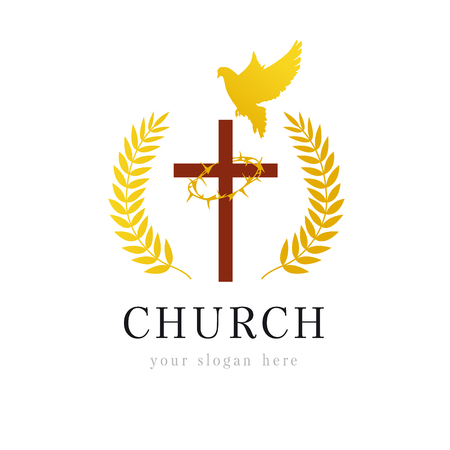 Christian church vector logo. Wooden crucifix, flying dove, gold colored palms branches, win, crown of thorns. Religious bible educational victorious isolated golden emblem template. Holiday symbol.