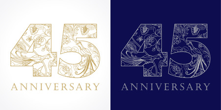 45th: 45 years old luxurious celebrating folk numbers. Template gold and silver colored 45th happy anniversary greetings, ethnics flowers, plants, paradise birds. Set of traditional congratulation pattern.