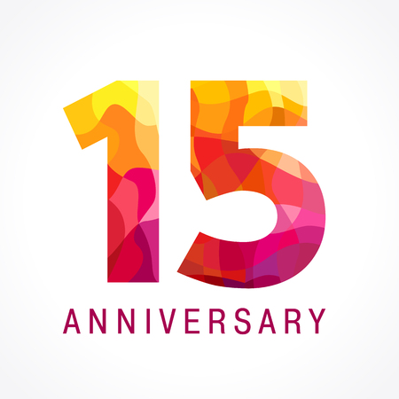15 years old celebrating fiery logo. Anniversary flamed year of 15 th. Facet congrats flamy numbers. Flaming greetings celebrates with 3D volume. Stained glass flames. Mosaic red colored background. Illustration