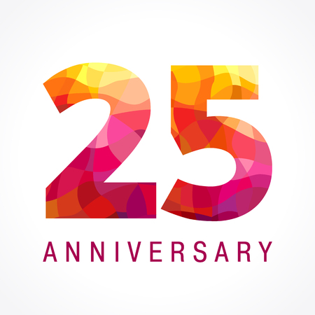 25th: 25 years old celebrating fiery logo. Anniversary flamed year of 25 th. Facet congrats flamy numbers. Flaming greetings celebrates with 3D volume. Stained glass flames. Mosaic red colored background.