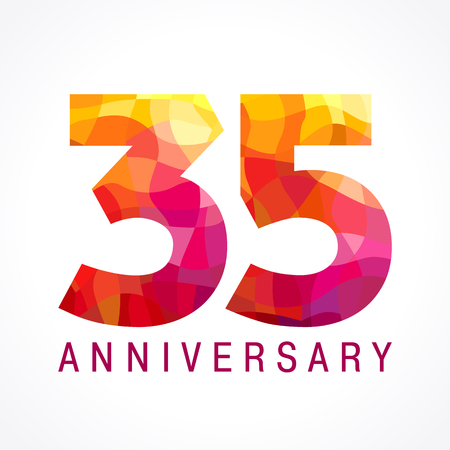 35 years old celebrating fiery logo. Anniversary flamed year of 35 th. Facet congrats flamy numbers. Flaming greetings celebrates with 3D volume. Stained glass flames. Mosaic red colored background.