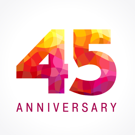 45 years old celebrating fiery logo. Anniversary flamed year of 45 th. Facet congrats flamy numbers. Flaming greetings celebrates with 3D volume. Stained glass flames. Mosaic red colored background. Illustration
