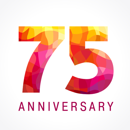 75 years old celebrating fiery logo. Anniversary flamed year of 75 th. Facet congrats flamy numbers. Flaming greetings celebrates with 3D volume. Stained glass flames. Mosaic red colored background.