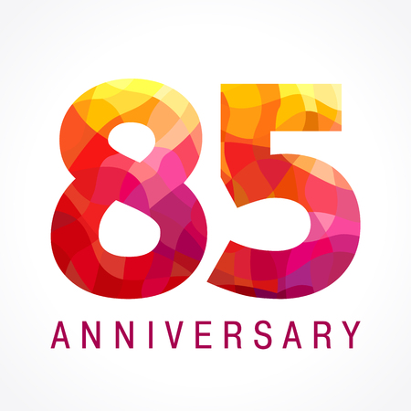re design: 85 years old celebrating fiery logo. Anniversary flamed year of 85 th. Facet congrats flamy numbers. Flaming greetings celebrates with 3D volume. Stained glass flames. Mosaic red colored background.