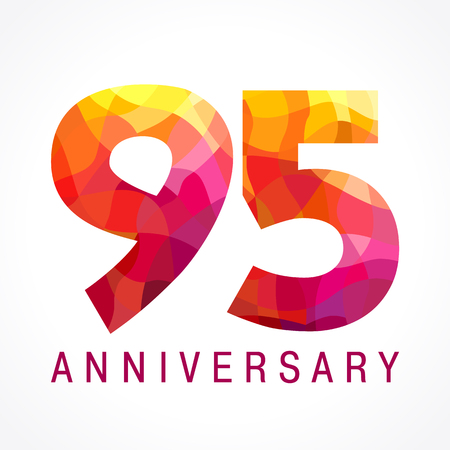 95 years old celebrating fiery logo. Anniversary flamed year of 95 th. Facet congrats flamy numbers. Flaming greetings celebrates with 3D volume. Stained glass flames. Mosaic red colored background.