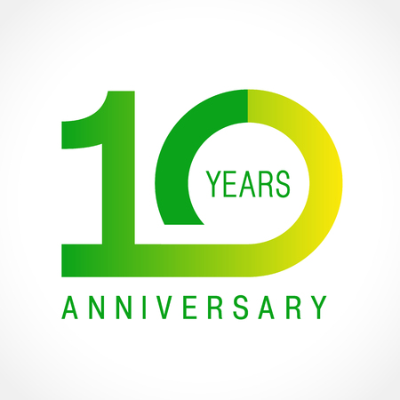 10 years old celebrating classic logo. Colored anniversary 10 th template numbers. Birthday greetings celebrates. Traditional framed digits of jubilee ages. Colored letter O or 0. Card or label idea. Vettoriali