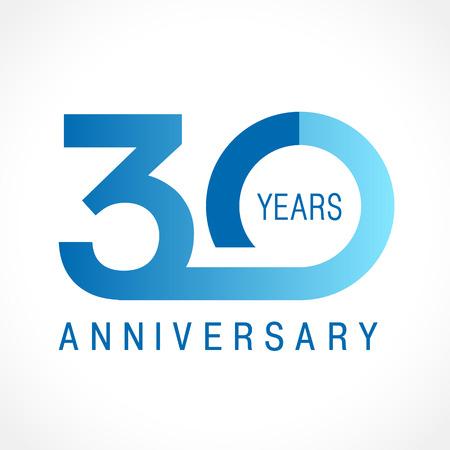 30 anni che celebrano il logo classico. Numeri di modello colorato anniversario 30. Gli auguri di compleanno festeggiano. Cifre incorniciate tradizionali delle età giubilari. Lettera colorata O o 0. Idea di carta o etichetta.