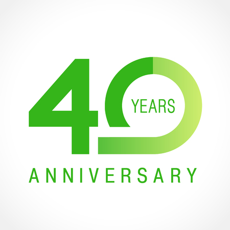 40 years old celebrating classic logo. Colored anniversary 40th template numbers. Birthday greetings celebrates. Ilustração