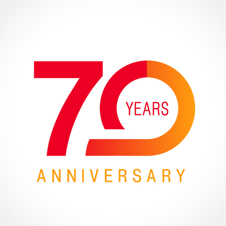 70 years old celebrating classic logo. Colored anniversary 70 th template numbers. Birthday greetings celebrates. Traditional framed digits of jubilee ages. Colored letter O or 0. Card or label idea. Illustration
