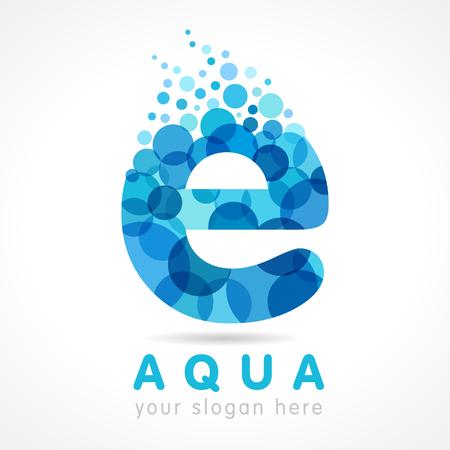 Aqua e letter logo. Logo of tourism, resort or hotel by the sea in letter E bubbles. Vector water sea liquid drop sign