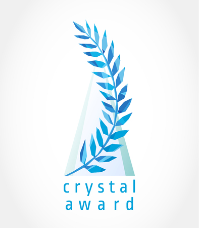Layout of crystal award. Luxurious facet stained glass branch of palm and transparent pyramid. Blue colored royalty victorious template. Decorative traditional logo of win, branches of grapes, palms.