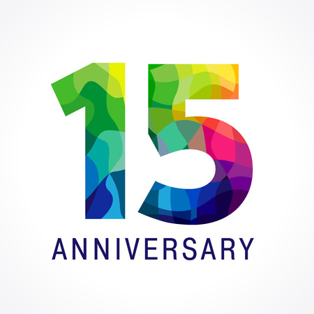 15 years old. Anniversary numbers 15th. Fifteen bright facet congrats logotype. Greetings celebrates with 3D volume. Stained glass mosaic pattern or% off. Illustration
