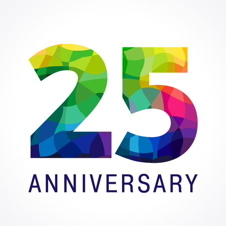 25th: 25 years old celebrating. Anniversary numbers 25 th. Shining facet congrats logotype. Greetings celebrates with 3D volume. Stained glass mosaic background,% off template.