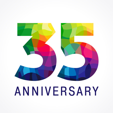35 years old celebrating. Anniversary numbers 35 th. Shining facet congrats logotype. Greetings celebrates with 3D volume. Stained glass mosaic background,% off template.
