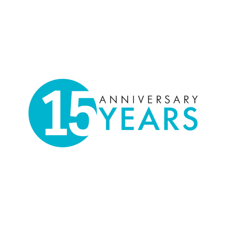15 years old old logo. Anniversary of the 15th vector key numbers. Greetings, ribbon, celebrates. Celebrating 1st place, 15th idea. Colored traditional digital logotype of ages or% off.