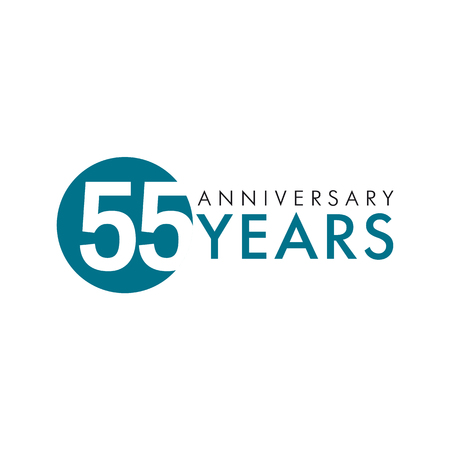 55 years old round logo. Anniversary year of 55 th vector numbers. Greetings, ribbon, celebrates. Celebrating 5th place, 55th key shape idea. Colored traditional digital logotype of ages or% off.