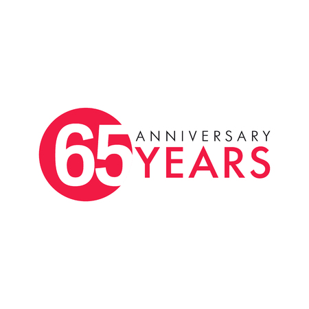 65 years old round logo. Anniversary year of 65 th vector numbers. Greetings, ribbon, celebrates. Celebrating 6th place, key shape idea. Colored traditional digital logotype of ages or% off. Illustration