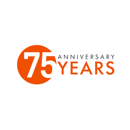 75 years old round logo. Anniversary year of 75 th vector numbers. Greetings, ribbon, celebrates. Celebrating 7th place, key shape idea. Colored traditional digital logotype of ages or% off.