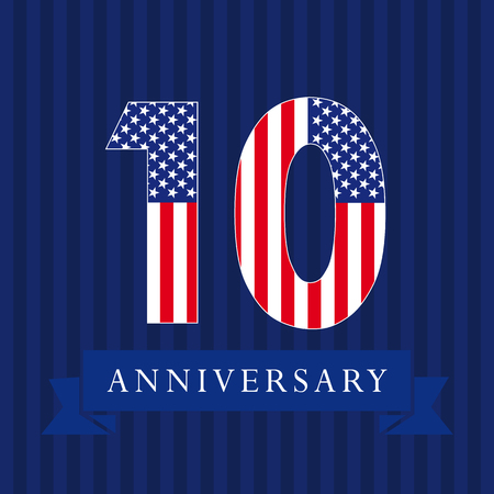 Anniversary 10 US flag logotype. Template of celebrating 10 th. Isolated numbers in a traditional style on a striped abstract blue background. United States greetings or sticker, ten, one, 0 or letter O. Illustration