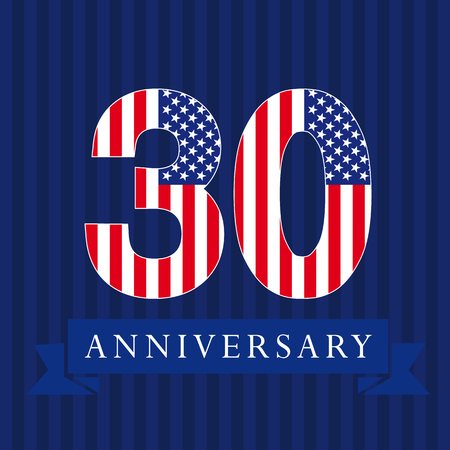 Anniversary 30 US flag logotype. Template of celebrating 30th.