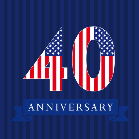 Anniversary 40 US flag logotype Isolated numbers in a traditional style on a striped abstract blue background, United States greetings or sticker, forty, 0 or letter O. Illustration
