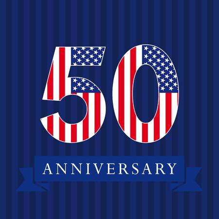 米国旗のロゴ 50 周年記念。テンプレートお祝い 50 の th。ストライプ青背景で伝統的なスタイルで孤立した数字。アメリカ合衆国の挨拶やステッカー