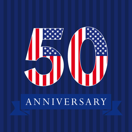 Anniversary 50 US flag logotype. Template of celebrating 50 th. Isolated numbers in a traditional style on a striped abstract blue background. United States greetings or sticker, five, 0 or letter O.