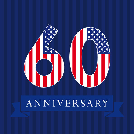numbers background: Anniversary 60 US flag logotype. Template of celebrating 60 th. Isolated numbers in a traditional style on a striped abstract blue background. United States patriot greetings or sticker, six, 0, letter O.