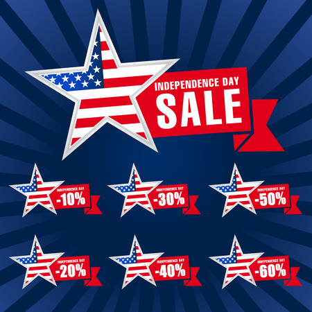 Independence day USA sale template on dark background. United States traditional holiday discounts. Patriotic stars, celebrating labels, web banners, fourth of July offer,% off vector illustration. 向量圖像