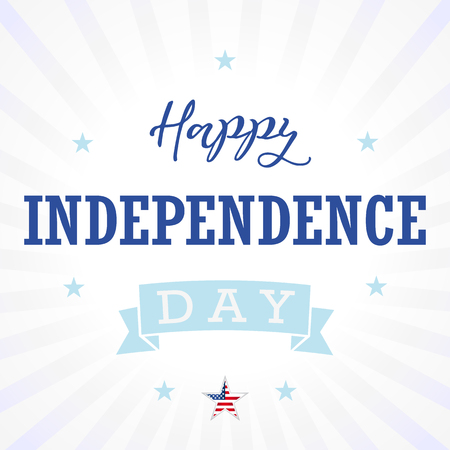 Happy Independence Day USA greetings, stars, light stripes. United States national american traditional celebration illustration with national flag colors and text. Illustration